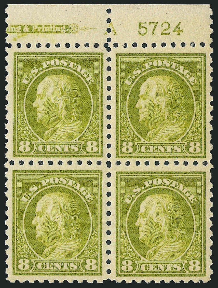 Values of US Stamp Scott Catalog 431 - 8c 1914 Franklin Perf 10. Robert Siegel Auction Galleries, Oct 2011, Sale 1014, Lot 1908