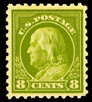 Values of US Stamp Scott Cat. # 431: 8c 1914 Franklin Perf 10. Daniel Kelleher Auctions, Dec 2012, Sale 633, Lot 760