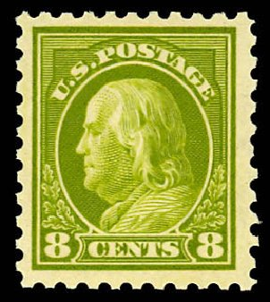 US Stamps Price Scott Catalog #431 - 1914 8c Franklin Perf 10. Daniel Kelleher Auctions, Dec 2012, Sale 633, Lot 761