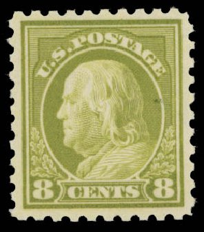 Costs of US Stamps Scott Cat. #431: 8c 1914 Franklin Perf 10. Daniel Kelleher Auctions, May 2015, Sale 669, Lot 3011