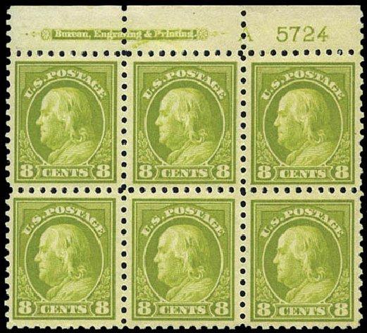 Values of US Stamps Scott Catalogue 431 - 8c 1914 Franklin Perf 10. Matthew Bennett International, Mar 2011, Sale 336, Lot 1304