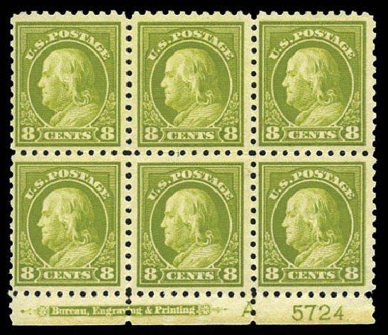 Costs of US Stamps Scott Cat. # 431: 1914 8c Franklin Perf 10. Matthew Bennett International, Mar 2011, Sale 337, Lot 2904