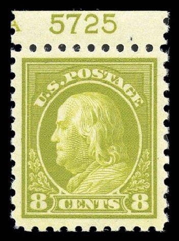 Prices of US Stamp Scott Catalog # 431 - 1914 8c Franklin Perf 10. Matthew Bennett International, Sep 2010, Sale 331, Lot 725