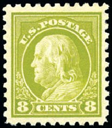 US Stamps Price Scott Catalog # 431 - 8c 1914 Franklin Perf 10. Schuyler J. Rumsey Philatelic Auctions, Apr 2015, Sale 60, Lot 2385