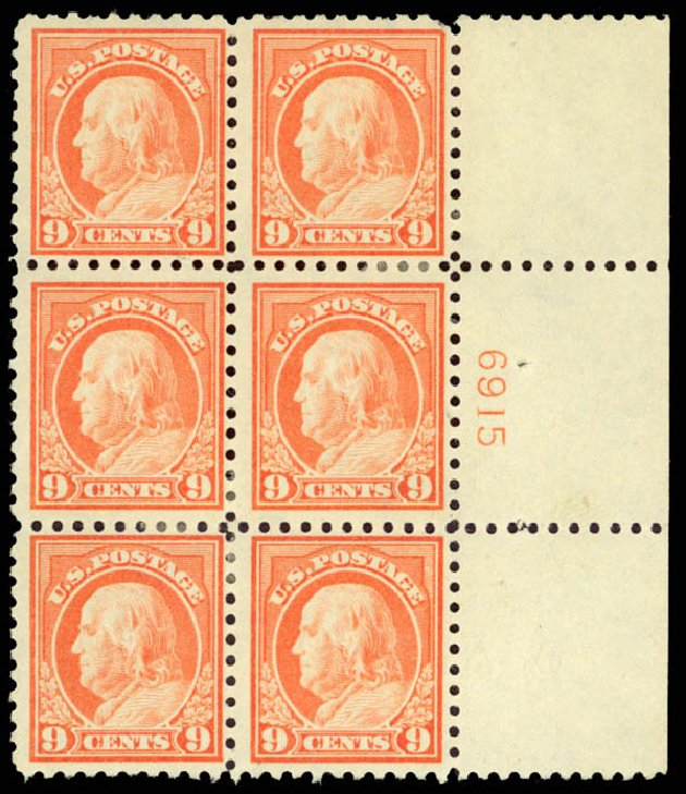 Price of US Stamps Scott Catalogue 432 - 9c 1914 Franklin Perf 10. Daniel Kelleher Auctions, Jan 2015, Sale 663, Lot 1788
