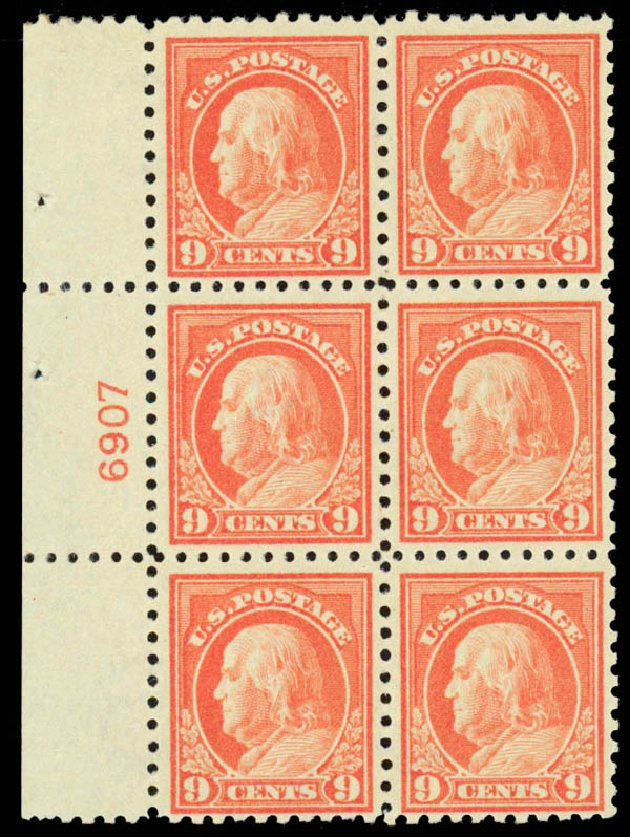 Value of US Stamp Scott 432 - 9c 1914 Franklin Perf 10. Daniel Kelleher Auctions, Sep 2013, Sale 639, Lot 3549