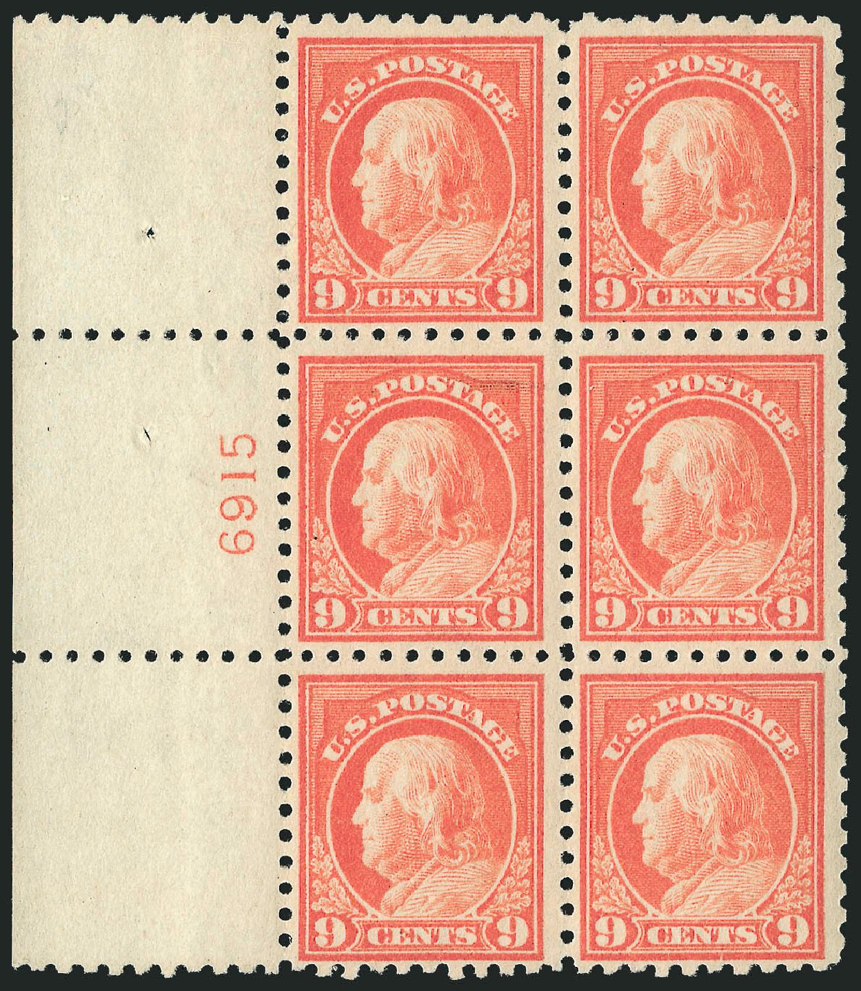 Value of US Stamp Scott Catalog # 432: 9c 1914 Franklin Perf 10. Robert Siegel Auction Galleries, Feb 2015, Sale 1093, Lot 304