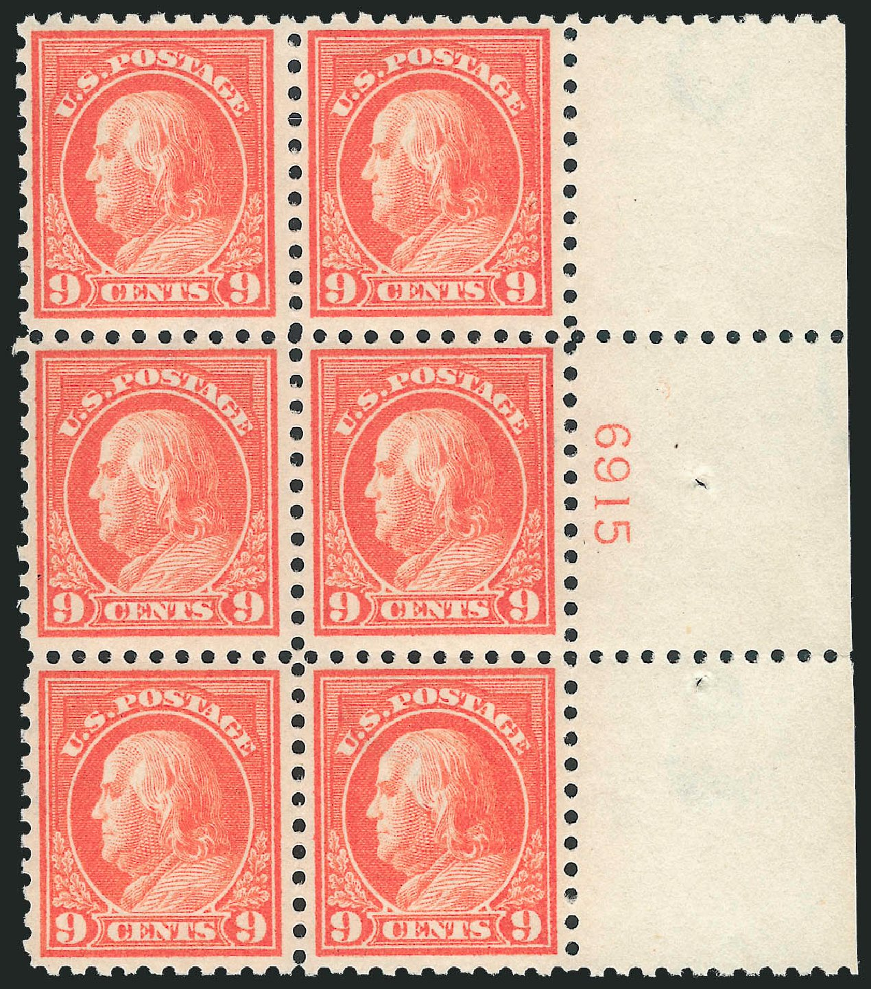 US Stamp Prices Scott Cat. # 432 - 9c 1914 Franklin Perf 10. Robert Siegel Auction Galleries, Mar 2014, Sale 1067, Lot 1522