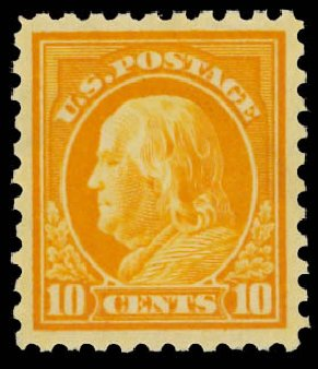 Prices of US Stamps Scott Catalog #433: 10c 1914 Franklin Perf 10. Daniel Kelleher Auctions, Jan 2012, Sale 628, Lot 499