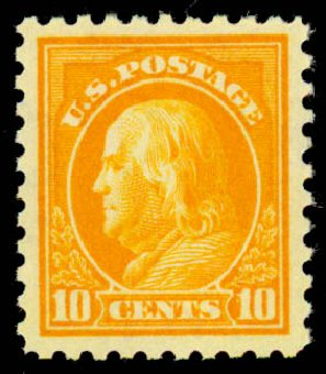 Values of US Stamps Scott Catalog #433: 10c 1914 Franklin Perf 10. Daniel Kelleher Auctions, Sep 2013, Sale 639, Lot 3550