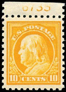 US Stamps Value Scott Catalogue # 433: 10c 1914 Franklin Perf 10. Schuyler J. Rumsey Philatelic Auctions, Apr 2015, Sale 60, Lot 2820