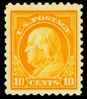 US Stamp Value Scott #433: 1914 10c Franklin Perf 10. Daniel Kelleher Auctions, Sep 2013, Sale 639, Lot 3551