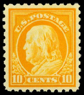 Values of US Stamp Scott Cat. 433 - 10c 1914 Franklin Perf 10. Daniel Kelleher Auctions, Dec 2014, Sale 661, Lot 361