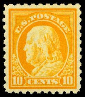 Values of US Stamp Scott Cat. 433 - 10c 1914 Franklin Perf 10. Daniel Kelleher Auctions, Dec 2014, Sale 661, Lot 361