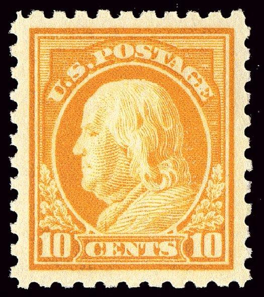 US Stamp Values Scott # 433 - 10c 1914 Franklin Perf 10. Spink Shreves Galleries, Jan 2014, Sale 146, Lot 414