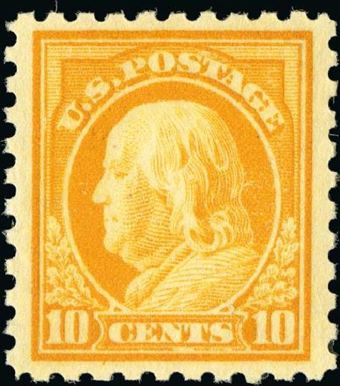 Value of US Stamp Scott Cat. # 433 - 1914 10c Franklin Perf 10. Spink Shreves Galleries, Jan 2015, Sale 150, Lot 174