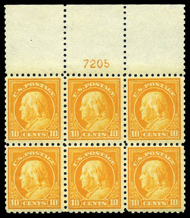 Values of US Stamp Scott # 433 - 1914 10c Franklin Perf 10. Matthew Bennett International, May 2014, Sale 350, Lot 582