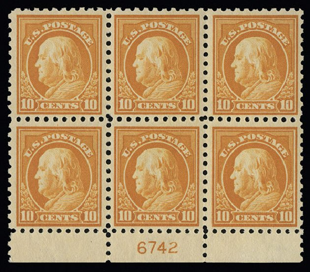 Values of US Stamp Scott Catalogue # 433 - 1914 10c Franklin Perf 10. Spink Shreves Galleries, Aug 2013, Sale 144, Lot 243