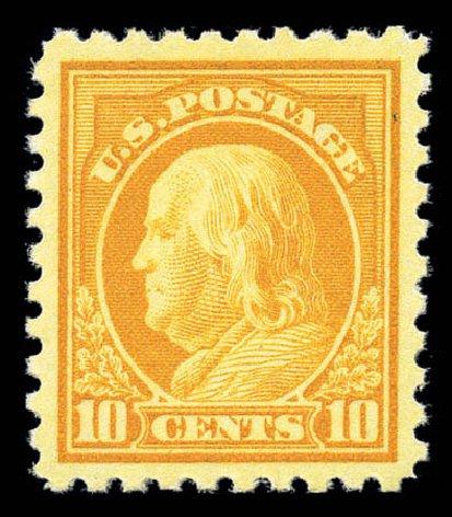 US Stamps Values Scott Cat. 433 - 10c 1914 Franklin Perf 10. Matthew Bennett International, Sep 2010, Sale 331, Lot 726