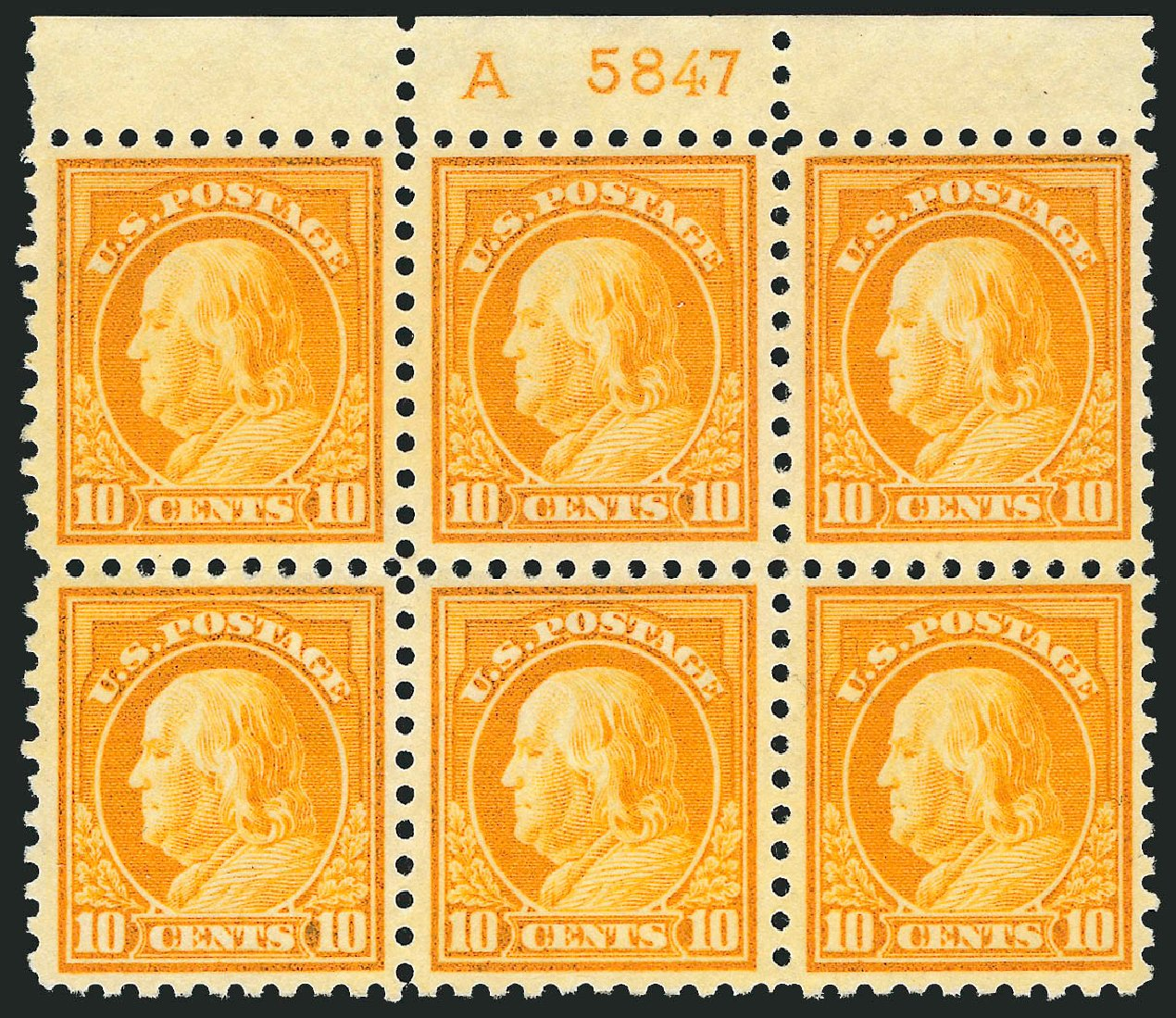 US Stamps Prices Scott 433: 10c 1914 Franklin Perf 10. Robert Siegel Auction Galleries, Jul 2014, Sale 1077, Lot 266