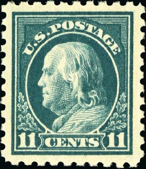 Value of US Stamps Scott #434 - 1915 11c Franklin Perf 10. Spink Shreves Galleries, Jan 2015, Sale 150, Lot 175