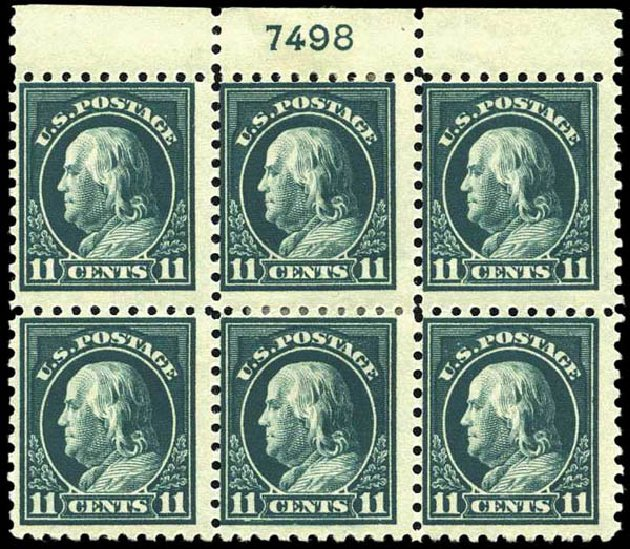 Values of US Stamps Scott Catalogue 434: 1915 11c Franklin Perf 10. Harmer-Schau Auction Galleries, Oct 2013, Sale 99, Lot 183