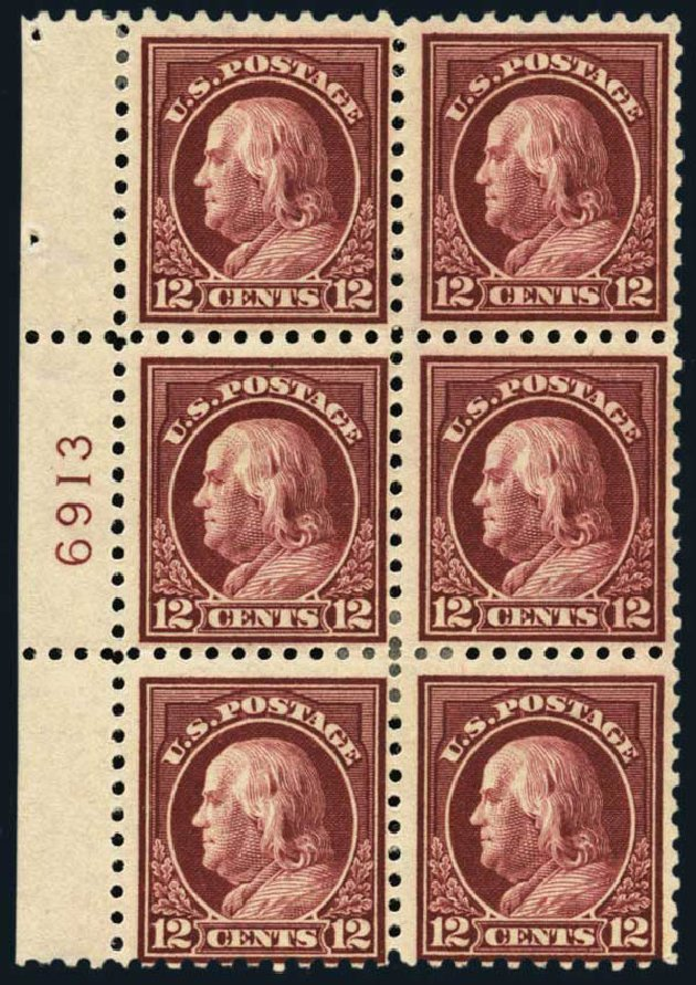 Values of US Stamp Scott Cat. #435 - 1914 12c Franklin Perf 10. Harmer-Schau Auction Galleries, Oct 2013, Sale 99, Lot 184