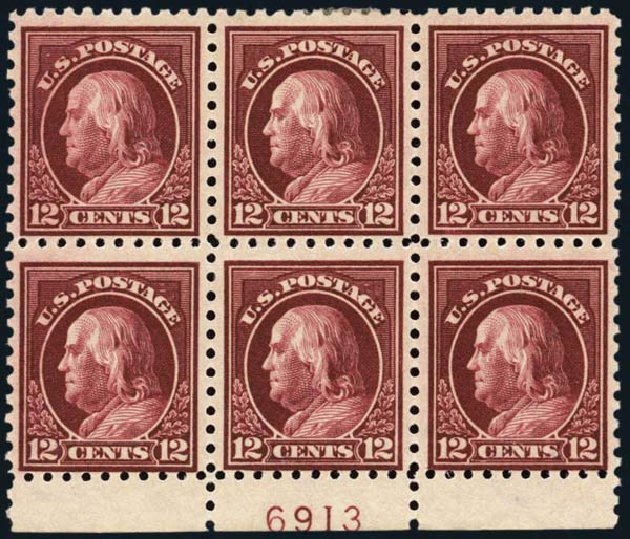 Prices of US Stamps Scott Catalogue 435 - 12c 1914 Franklin Perf 10. Harmer-Schau Auction Galleries, Oct 2013, Sale 99, Lot 185