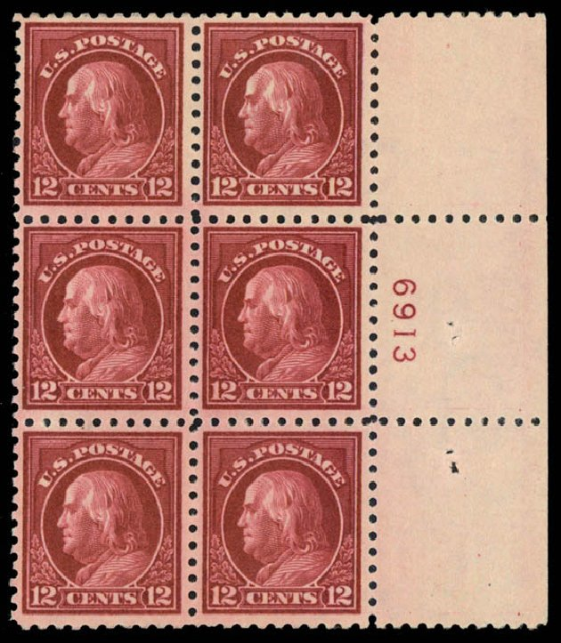 Cost of US Stamps Scott #435: 1914 12c Franklin Perf 10. Daniel Kelleher Auctions, Sep 2013, Sale 639, Lot 3555