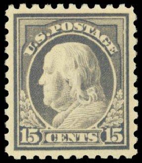 Prices of US Stamps Scott #437: 1914 15c Franklin Perf 10. Daniel Kelleher Auctions, Sep 2014, Sale 655, Lot 487