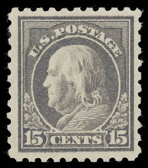 Value of US Stamp Scott Cat. 437: 1914 15c Franklin Perf 10. Daniel Kelleher Auctions, Aug 2015, Sale 672, Lot 2727