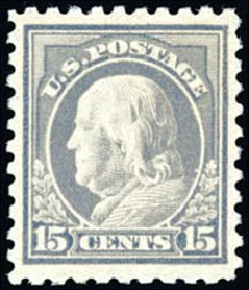 US Stamps Values Scott 437 - 15c 1914 Franklin Perf 10. Schuyler J. Rumsey Philatelic Auctions, Apr 2015, Sale 60, Lot 2387