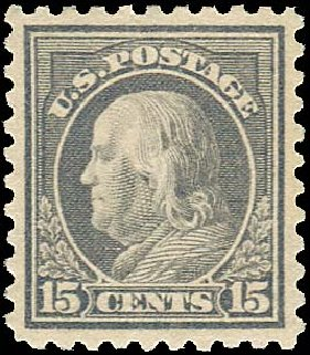 US Stamp Price Scott #437: 1914 15c Franklin Perf 10. Regency-Superior, Nov 2014, Sale 108, Lot 828
