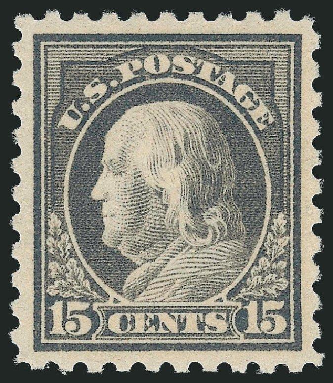 US Stamps Prices Scott Catalog # 437 - 15c 1914 Franklin Perf 10. Robert Siegel Auction Galleries, Dec 2013, Sale 1062, Lot 618