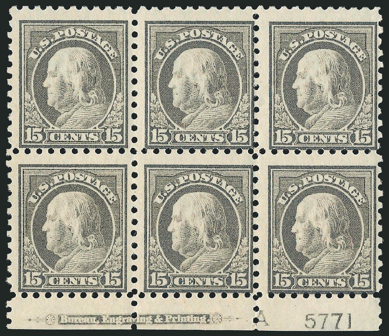 Prices of US Stamps Scott Catalogue # 437 - 15c 1914 Franklin Perf 10. Robert Siegel Auction Galleries, Jul 2014, Sale 1077, Lot 268