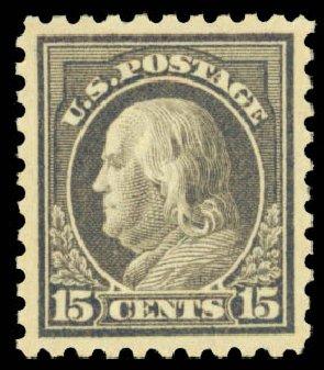 Prices of US Stamps Scott Catalogue # 437: 15c 1914 Franklin Perf 10. Daniel Kelleher Auctions, Dec 2013, Sale 640, Lot 379