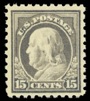 Prices of US Stamp Scott Catalogue 437 - 1914 15c Franklin Perf 10. Daniel Kelleher Auctions, Jan 2015, Sale 663, Lot 1789