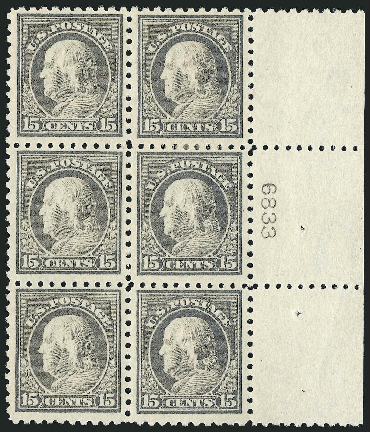 US Stamps Values Scott # 437: 1914 15c Franklin Perf 10. Robert Siegel Auction Galleries, Sep 2014, Sale 1078, Lot 529