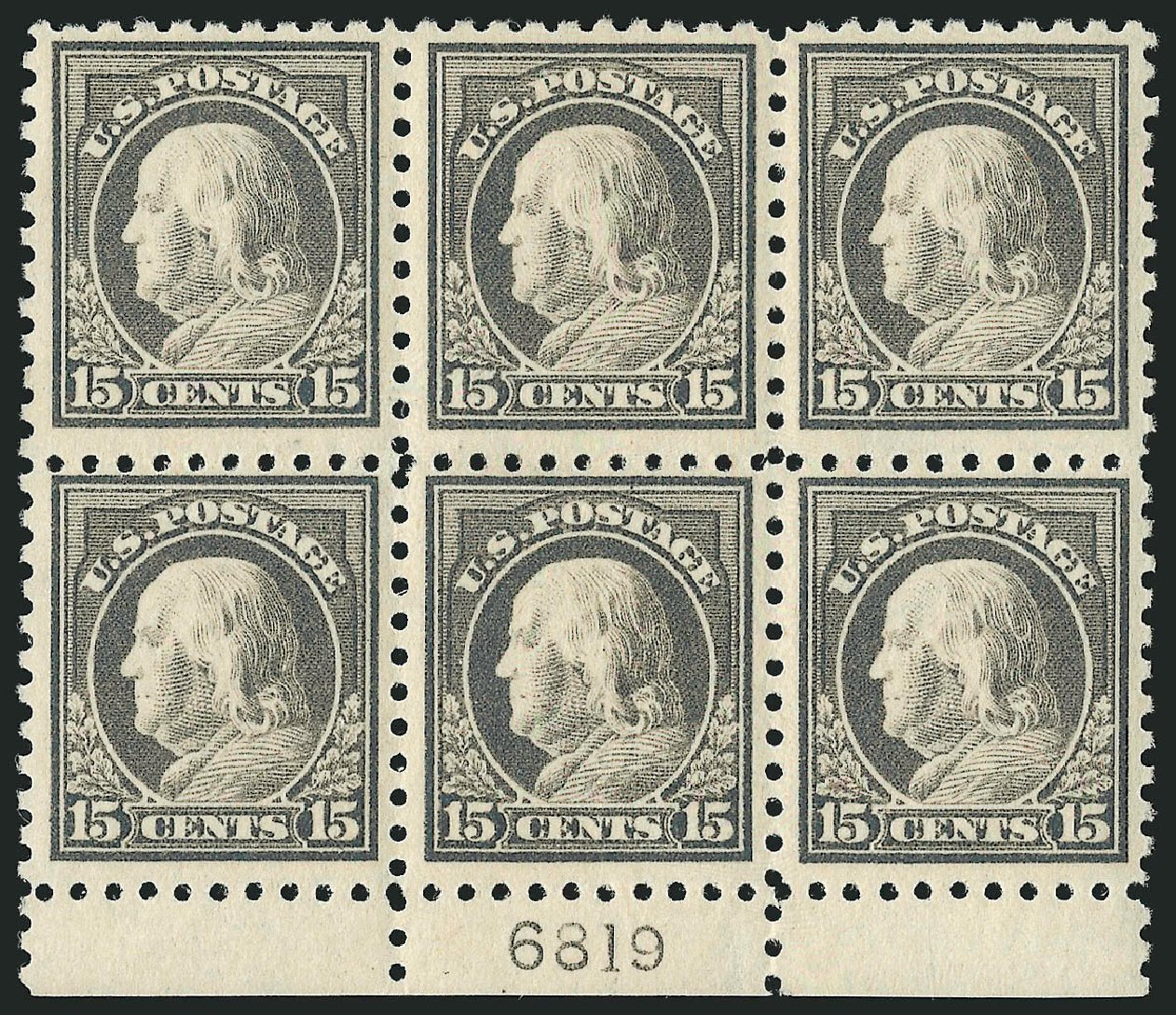 Prices of US Stamps Scott Catalogue #437 - 15c 1914 Franklin Perf 10. Robert Siegel Auction Galleries, Apr 2015, Sale 1096, Lot 680