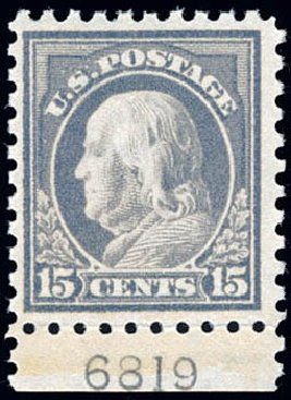 US Stamp Price Scott Cat. # 437: 1914 15c Franklin Perf 10. Schuyler J. Rumsey Philatelic Auctions, Apr 2015, Sale 60, Lot 2821