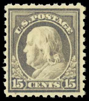 Price of US Stamps Scott Cat. # 437 - 1914 15c Franklin Perf 10. Daniel Kelleher Auctions, Dec 2014, Sale 661, Lot 364