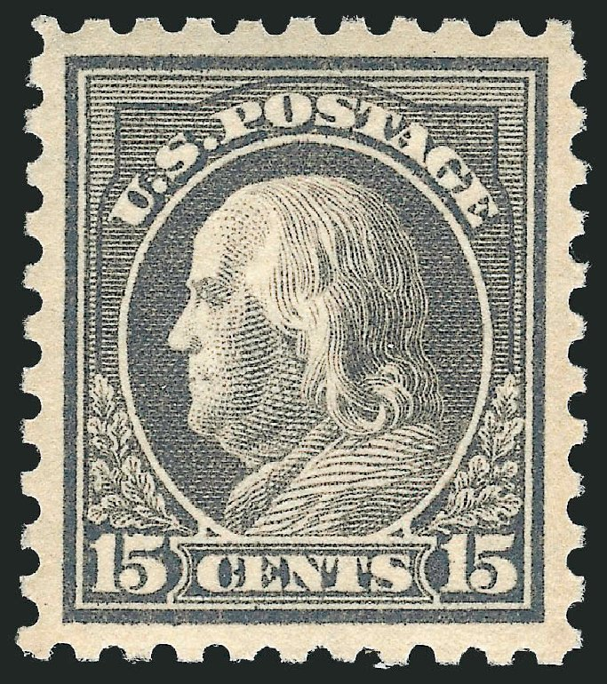 Value of US Stamp Scott Catalogue #437 - 15c 1914 Franklin Perf 10. Robert Siegel Auction Galleries, Feb 2015, Sale 1092, Lot 1314