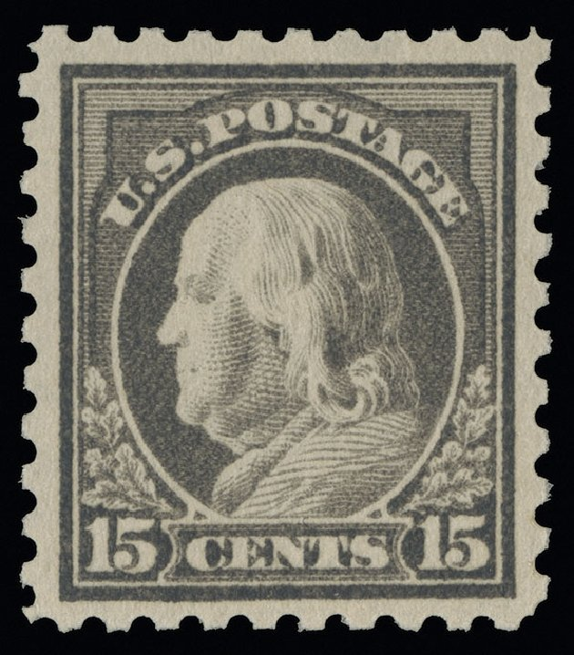 US Stamps Values Scott 437 - 15c 1914 Franklin Perf 10. Spink Shreves Galleries, Aug 2013, Sale 144, Lot 244