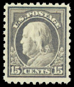 Prices of US Stamp Scott Catalogue # 437 - 15c 1914 Franklin Perf 10. Daniel Kelleher Auctions, Sep 2013, Sale 639, Lot 1155