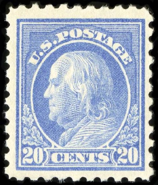 Costs of US Stamp Scott Catalogue #438: 1914 20c Franklin Perf 10. Spink Shreves Galleries, Jul 2015, Sale 151, Lot 297