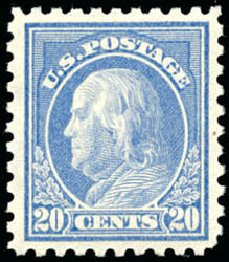 Value of US Stamp Scott Cat. 438: 20c 1914 Franklin Perf 10. Schuyler J. Rumsey Philatelic Auctions, Apr 2015, Sale 60, Lot 2388