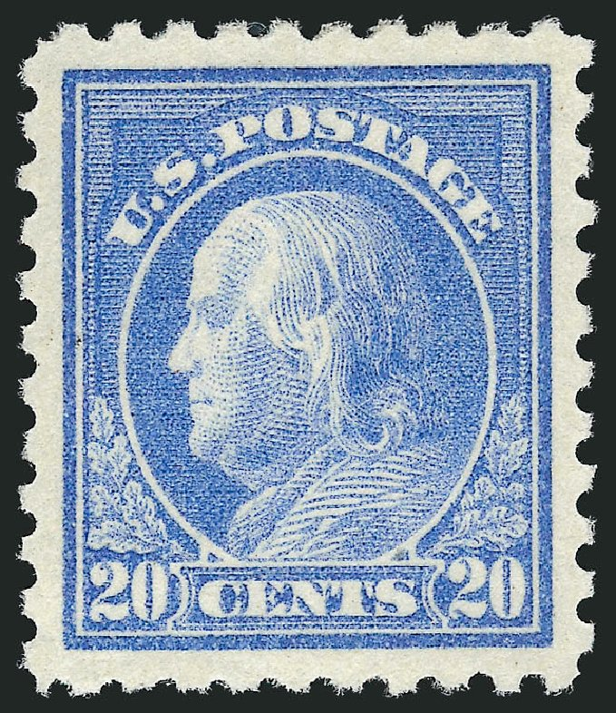 Value of US Stamps Scott #438 - 1914 20c Franklin Perf 10. Robert Siegel Auction Galleries, Feb 2015, Sale 1093, Lot 308