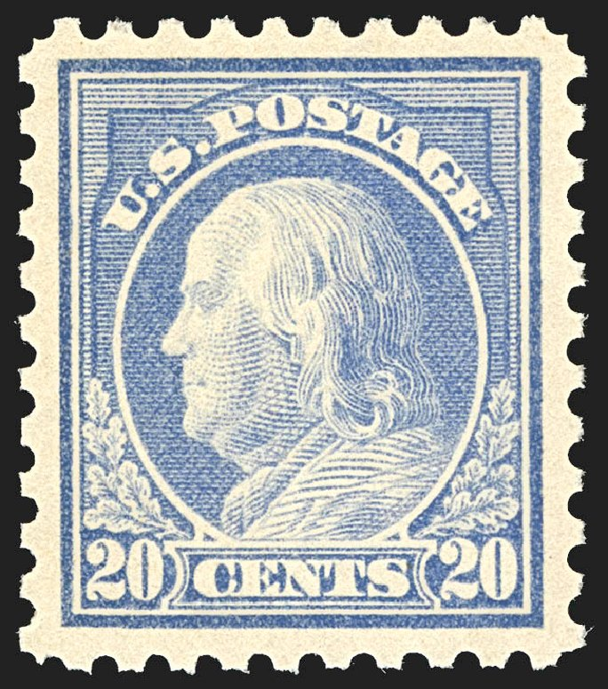 Prices of US Stamps Scott #438 - 1914 20c Franklin Perf 10. Robert Siegel Auction Galleries, Jul 2015, Sale 1107, Lot 468