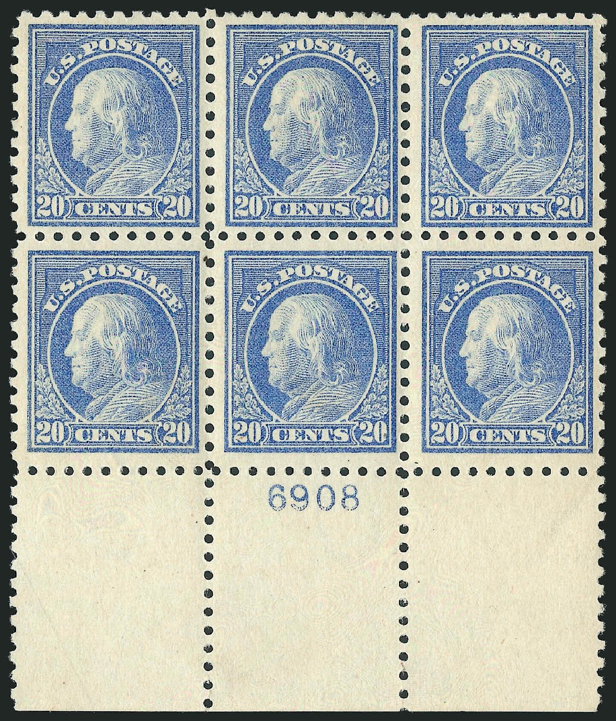 Costs of US Stamp Scott Catalog 438: 20c 1914 Franklin Perf 10. Robert Siegel Auction Galleries, Feb 2015, Sale 1093, Lot 309
