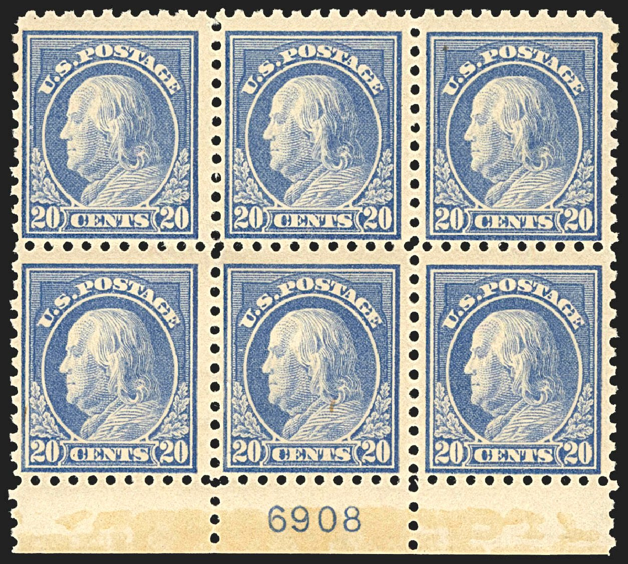 Prices of US Stamp Scott Catalogue 438 - 20c 1914 Franklin Perf 10. Robert Siegel Auction Galleries, Jul 2015, Sale 1107, Lot 469